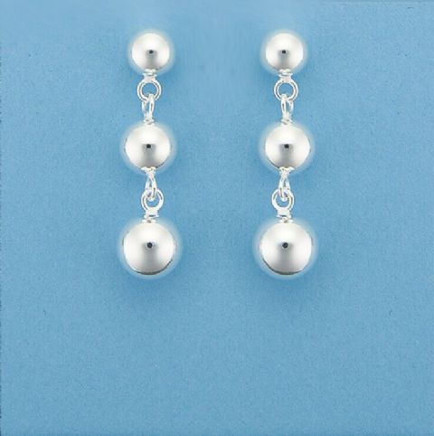 Genuine 925 Sterling Silver Ascending Size Three Ball Drop Stud Earrings